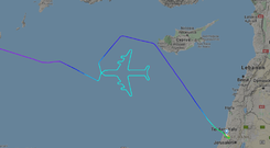 The image of the Boeing 747 as drawn by the plane (Screen grab/Flightradar24/PA)