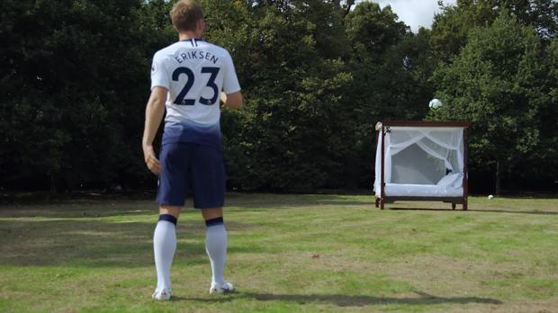 Christian Eriksen takes part in a challenge with Hotels.com – (Hotels.com/Tottenham Hotspur)