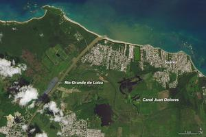 A picture of Puerto Rico the year before Hurricane Maria struck, taken on September 23, 2016 (Nasa Earth Observatory)
