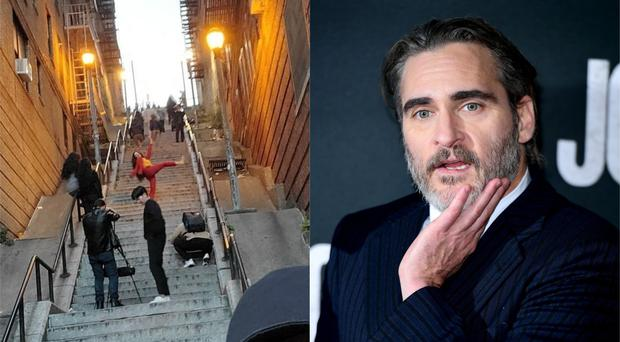 The Jokr stairs with tourists on and Joaquin Phoenix (rt_jhza/Instagram and Ian West/PA)