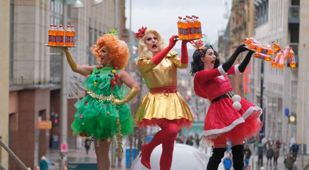 Drag queens Frankie, 24 Carat Goldie and Myriam launched the new flavour of Irn-Bru (Tony Marsh Photography/PA)