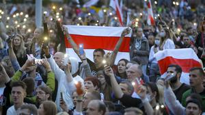 Protesters gather at at Independence Square in Minsk (Sergei Grits/AP)