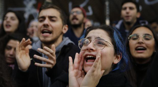 Protesters in Beirut (AP/Bilal Hussein)