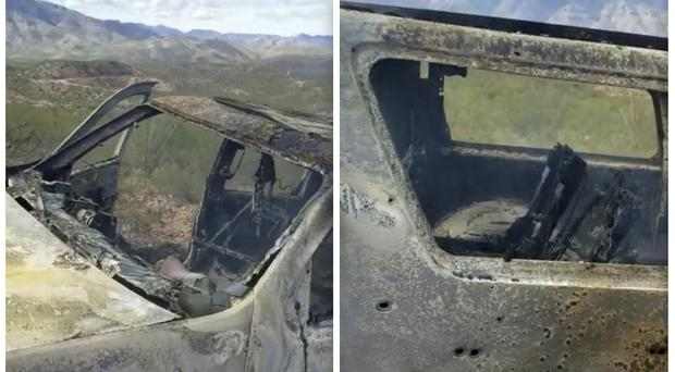 A burned-out vehicle that was being used by some members of the LeBaron family as they were driving in a convoy near the Sonora-Chihuahua border (Kenny Miller/Courtesy of Alex LeBaron via AP)