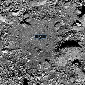The primary sample collection site on Bennu, named Nightingale. An outline of the Osiris-Rex spacecraft is placed at the centre to illustrate the scale of the site (Nasa/Goddard/University of Arizona via AP)