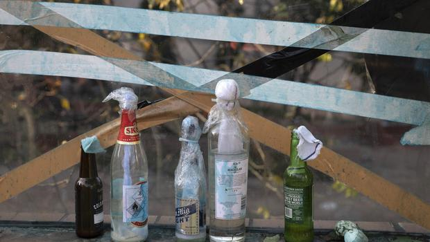 Molotov cocktails are left over at the Hong Kong Polytechnic University campus (Ng Han Guan/AP)