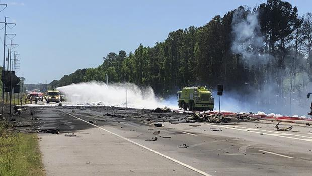 Emergency personnel at the scene of the Air National Guard C-130 cargo plane that crashed near Savannah (Chris Hanks/Savannah Professional Firefighters Association/AP)