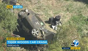 In this aerial image taken from video provided by KABC-TV, the vehicle is seen on its side (KABC-TV via AP)