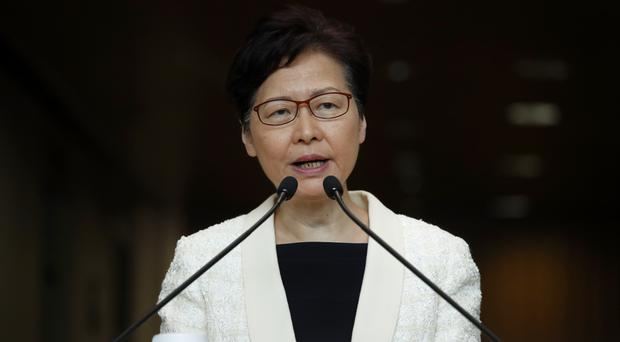 Carrie Lam speaks at a press conference in Hong Kong on Tuesday (Jae C Hong/AP)