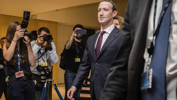 Mark Zuckerberg leaves the EU Parliament in Brussels on Tuesday