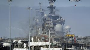 A fire on the USS Bonhomme Richard in California has finally been extinguished (Gregory Bull/AP)