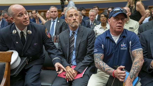 Jon Stewart lends his support to firefighters, first responders and survivors of the September 11 terror attacks (AP)