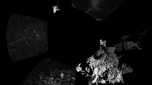 Philae's first panoramic image from the surface of the comet. (European Space Agency)