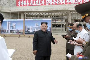 In this undated photo provided on Monday by the North Korean government, Kim Jong Un visits the construction site of a hospital in Pyongyang, believed to be the project causing the North Korean leader concern (Korean Central News Agency/Korea News Service/AP)
