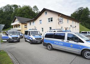 Emergency services block off the access to the Ramsbach district of Oppenau (Benedikt Spether/dpa via AP)
