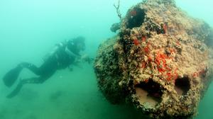 New images of the wreck of a seaplane downed during the Japanese attack on Pearl Harbour show a coral-encrusted engine (University of Hawaii Marine Option Programme/AP)