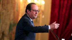 """French president Francois Hollande said the allied strategy against IS """"depends upon the liberation of Raqqa in Syria and Mosul in Iraq"""" (AP)"""