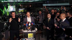 Igor Matovic, speaks after the announcement of the election result (Petr David Josek/AP)