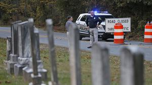 Police at the scene where Hannah Graham's body was found in a rural area of Virginia. (AP)