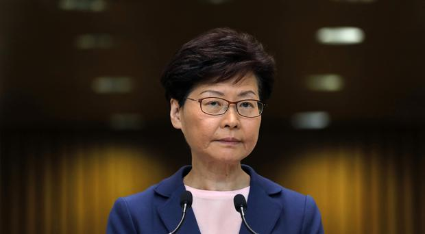 Carrie Lam during the press conference in Hong Kong (Vincent Yu/PA)