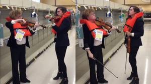 Violinists play in front of an empty toilet roll aisle (Bonnie Von Duyke)