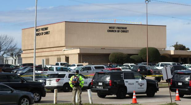 The scene of a church shooting at West Freeway Church of Christ (Juan Figueroa/The Dallas Morning News via AP)