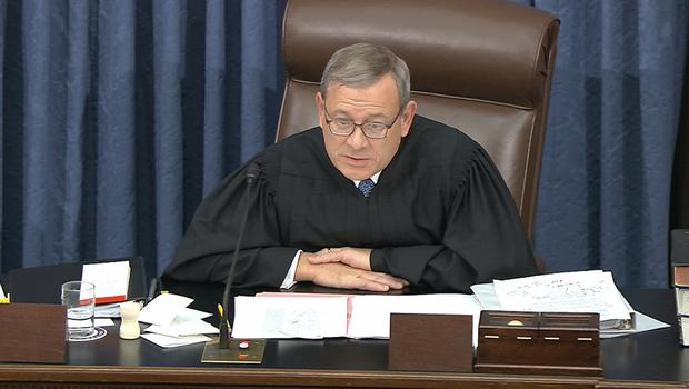 Supreme Court Chief Justice John Roberts at the start of the impeachment trial (Senate Television via AP)