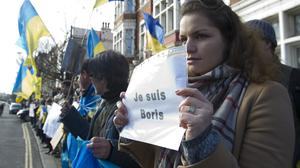 Protesters outside the Russian Embassy in central London after the shooting of Boris Nemtsov in Moscow