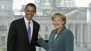 Barack Obama and Angela Merkel will discuss reviving a peace plan for besieged Ukraine (AP)