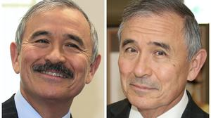 This combination photo shows US ambassador to South Korea Harry Harris with and without his moustache (Newsis, Yonhap via AP)