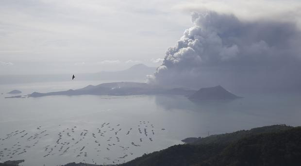 Taal volcano continues to spew ash in Tagaytay, Cavite province, south of Manila, Philippines (Aaron Favila/AP)