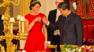 Chinese President Xi Jinping with the Duchess of Cambridge at a state banquet at Buckingham Palace