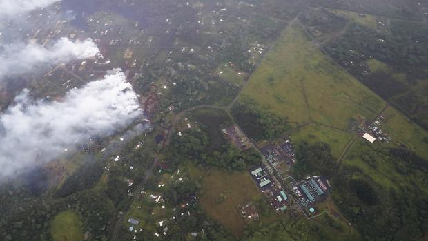 An aerial view of the East Rift Zone, along which the Leilani Estates neighbourhood sits, as seen from a helicopter flying in Pahoa, Hawaii (Cindy Ellen Russell/Honolulu Star-Advertiser via AP)