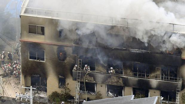 Shinji Aoba is accused of storming into the studio, setting it on fire and killing 36 people. (Kyodo News/AP)