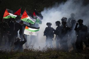 Clash near the West Bank town of Salfit (Majdi Mohammed/AP)