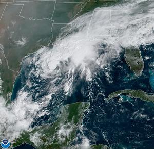 A satellite image shows Tropical Storm Beta in the Gulf of Mexico (NOAA via AP)