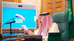 King Salman chairs a video call of world leaders from the G20 (Saudi Press Agency via AP)