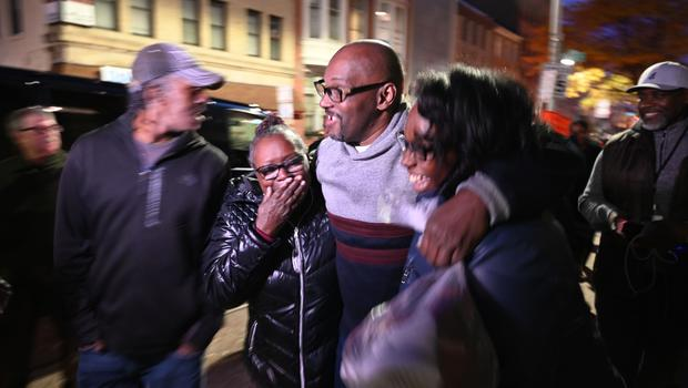 Andrew Stewart joins his mother Mary, left, and his sister, Ulonda, right, after his release (Jerry Jackson/The Baltimore Sun/AP)