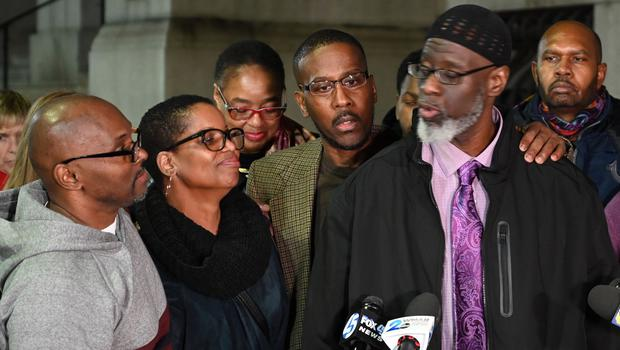 Andrew Stewart, from left, Alfred Chestnut, and Ransom Watkins speak after their release (Jerry Jackson/The Baltimore Sun/AP)