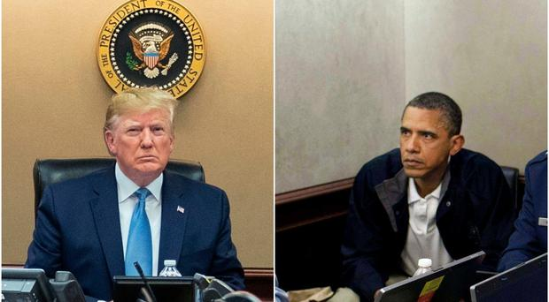 Presidents Donald Trump and Barack Obama in the Situation Room during the raids that killed Abu Bakr al Baghdadi and Osama bin Laden (Shealah Craighead/Pete Souza/AP)