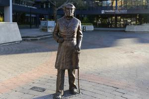 A Maori elder had threatened to tear down the statue of Captain Hamilton before it was removed from a square in the New Zealand city (Hamilton City Council/AP)