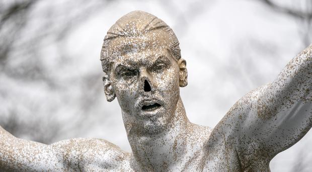 The defaced statue of Zlatan Ibrahimovic is seen in Malmo, Sweden (Johan Nilsson/TT News Agency via AP)