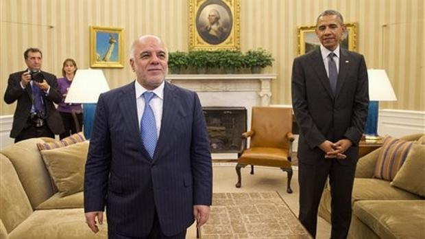 Iraqi PM Haider al-Abadi with president Barack Obama in the Oval Office at the White House. (AP)