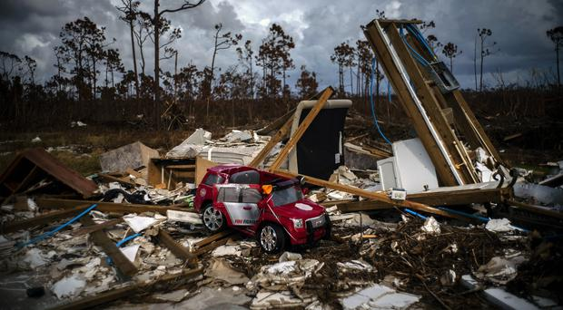 The rubble of a house destroyed by Hurricane Dorian in Gold Rock Creek in the Bahamas (Ramon Espinosa/AP)