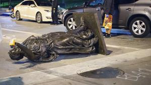 Statues have been pulled down in Wisconsin (Emily Hamer/Wisconsin State Journal via AP)