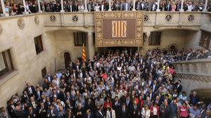 Catalan mayors have gathered in Barcelona in a show of strength