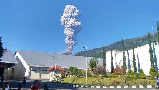 Mount Merapi spews volcanic materials, seen from Central Java, Indonesia (Muhammad Amin/AP)