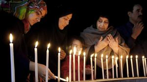 A vigil for victims of the Bacha Khan University attack near Peshawar (AP)