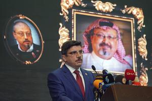 A speaker at an event organised to mark the 40th day of the death of Saudi writer Jamal Khashoggi (Neyran Elden/AP)
