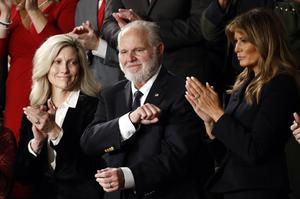 Limbaugh with former first lady Melania Trump, right, and his wife Kathryn (AP/Patrick Semansky, File)